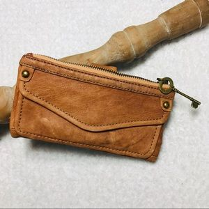 Leather Fossil tan wallet GUC